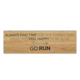 """Running 12.5"""" X 4"""" Printed Bamboo Removable Wall Tile - Always Find The Time"""