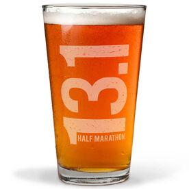 Running 20 oz Beer Pint Glass 13.1 Half Marathon Vertical