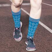 Printed Mid-Calf Socks - Snowflakes Knit