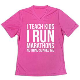 Women's Short Sleeve Tech Tee - I Teach Kids I Run Marathons