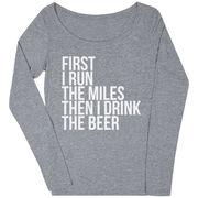 Women's Runner Scoop Neck Long Sleeve Tee - Then I Drink The Beer