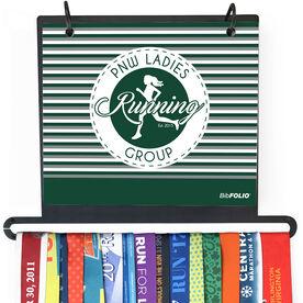 BibFOLIO+™ Race Bib and Medal Display - Pacific Northwest Ladies Running Group Logo with Stripes