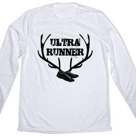 Men's Customized White Long Sleeve Tech Tee Ultra Runner Antlers