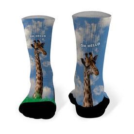 Running Printed Mid Calf Socks Oh Hello Giraffe