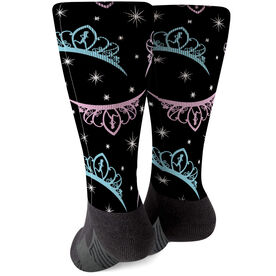 Running Printed Mid-Calf Socks - Princess Tiaras