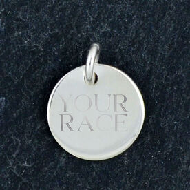 Sterling Silver 14mm Circle Charm Your Race