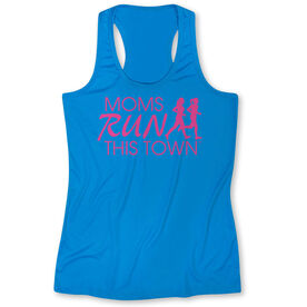 Women's Performance Tank Top - Moms Run This Town Logo (Pink)