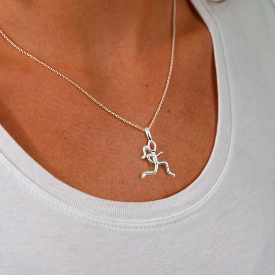 Sterling Silver Stick Figure Runner Necklace