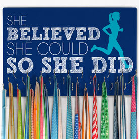 Running Large Hooked on Medals Hanger - She Believed She Could Silhouette