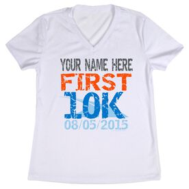 Women's Customized White Short Sleeve Tech Tee First 10K (Distressed)