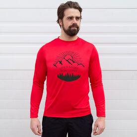 Men's Running Long Sleeve Tech Tee - Life's Short Run Long (Mountains)