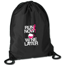 Running Sport Pack Cinch Sack Run Now Wine Later (White/Pink)