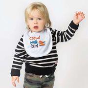Running Baby Bib - Crawl Walk Run