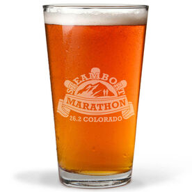 16 oz Beer Pint Glass Steamboat Marathon Artwork 2014