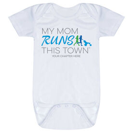 Running Baby One-Piece - My Mom Runs This Town