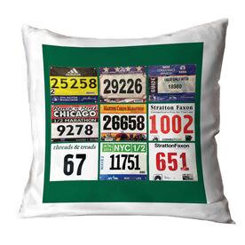 Running Throw Pillow - Custom Race Bib (9 Bibs)