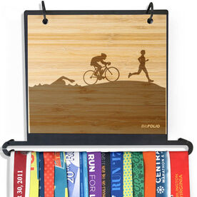 Engraved Bamboo BibFOLIO Plus Race Bib and Medal Display Triathlon