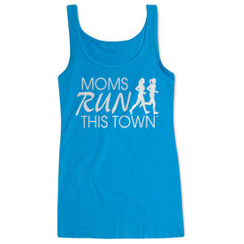 Women's Athletic Tank Top - Moms Run This Town Logo (White)