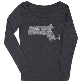 Women's Scoop Neck Long Sleeve Runners Tee Massachusetts State Runner