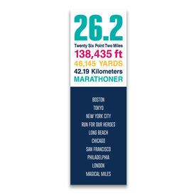 """Running 12.5"""" X 4"""" Removable Wall Tile - Personalized 26.2 Math Miles (Vertical)"""