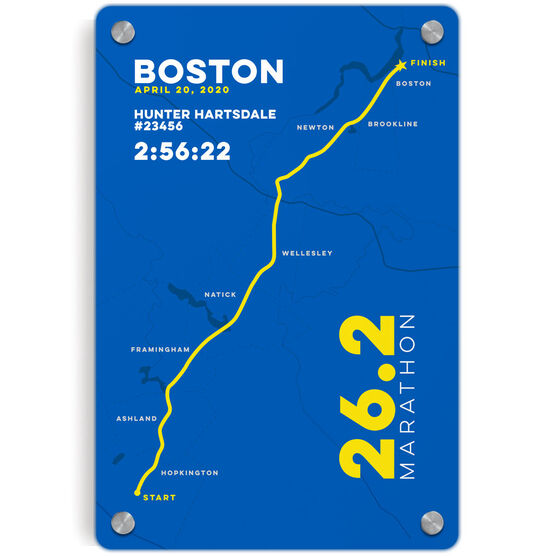 Running Metal Wall Art Panel - Boston 26.2 Route