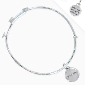 Livia Collection Sterling Silver Run Token Adjustable Bangle