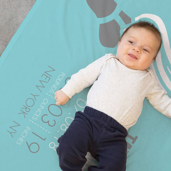 Running Baby Blanket - Birth Announcement