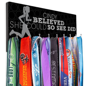 Running Hooked on Medals Hanger - 'Her Name' Believed She Could So She Did (Silhouette)