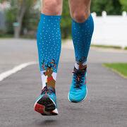 Running Printed Knee-High Socks - Reindeer With Running Shoes