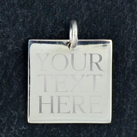 Sterling Silver 18 mm Square Charm Your Text Here