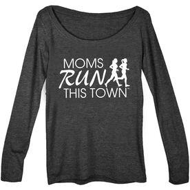 Women's Runner Scoop Neck Long Sleeve Tee - Moms Run This Town Logo (White)