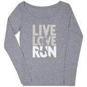 Women's Runner Scoop Neck Long Sleeve Tee - Live Love Run Silhouette