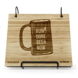 Engraved Bamboo Wood BibFOLIO Run Done Beer Now