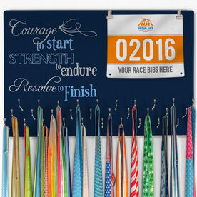 Running Large Hooked on Medals and Bib Hanger - Courage To Start