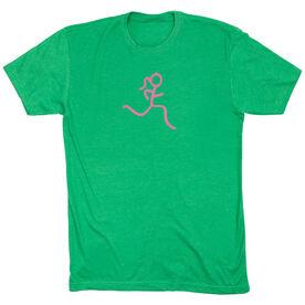 Running Short Sleeve T-Shirt -  Run Girl Stick Figure Pink