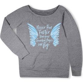 Running Fleece Wide Neck Sweatshirt - Run With Your Angel