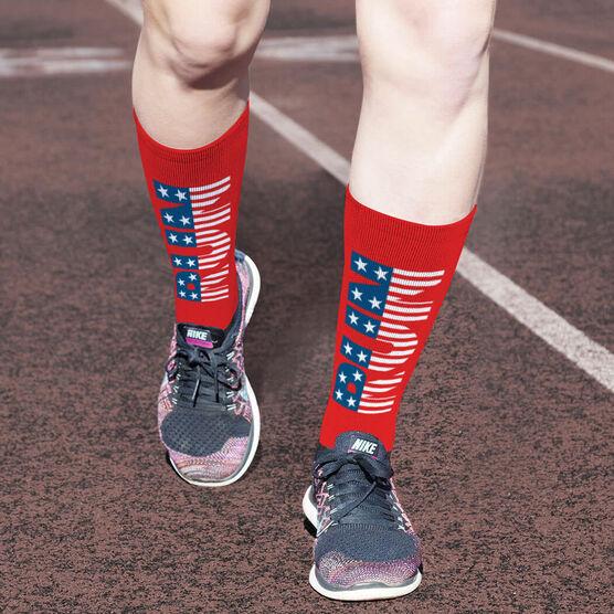 Running Printed Mid-Calf Socks - Run Patriotic
