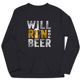 Men's Running Long Sleeve Performance Tee - Will Run For Beer