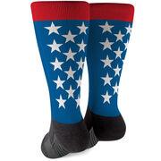 Printed Mid-Calf Socks - Patriotic Stars