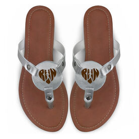 Running Engraved Thong Sandal - Heart Run