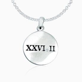 Sterling Silver Roman Numeral 26.2 Marathon Disc Necklace