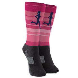 Running Printed Mid-Calf Socks - Runner Girl