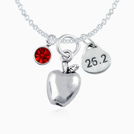 Sterling 26.2 New York Necklace w/ Apple Charm, 26.2 Oval Charm & Swarovski Red Crystal Drop