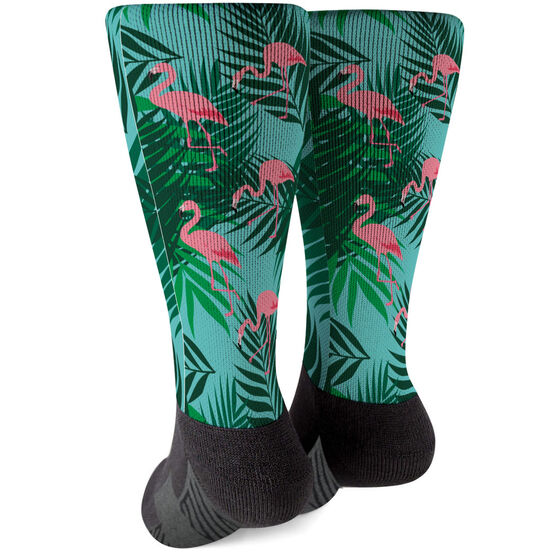 Printed Mid-Calf Socks - Flamingos