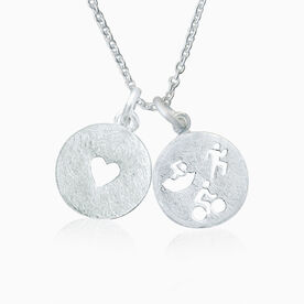 Livia Collection Sterling Silver Matte Tri Figures Love Necklace