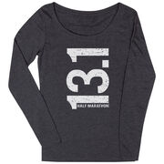 Women's Runner Scoop Neck Long Sleeve Tee 13.1 Half Marathon Vertical