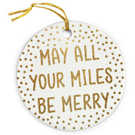 Running Porcelain Ornament - May All Your Miles Be Merry (Faux Glitter)