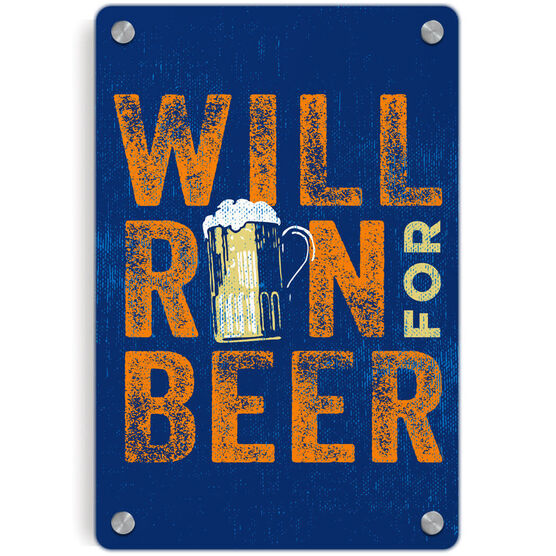 Running Metal Wall Art Panel - Will Run For Beer