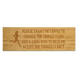 """Running 12.5"""" X 4"""" Engraved Bamboo Removable Wall Tile - Please Grant Me Coffee"""