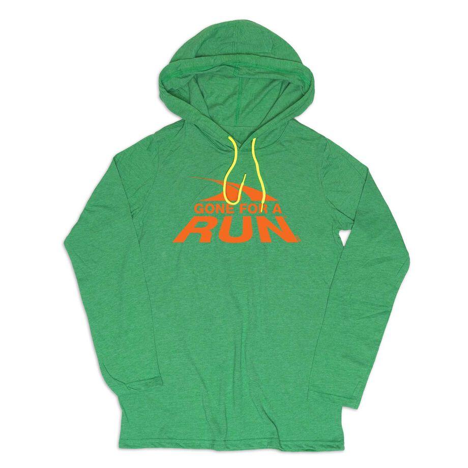 Men's Running Lightweight Hoodie - Gone For a Run Logo (Orange)